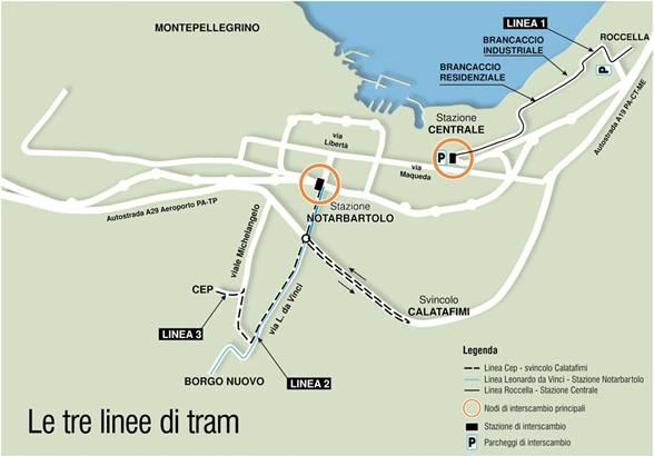 mappa tram