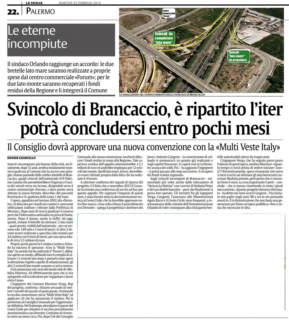 Svincoli Brancaccio (La Sicilia 25.02.2014)