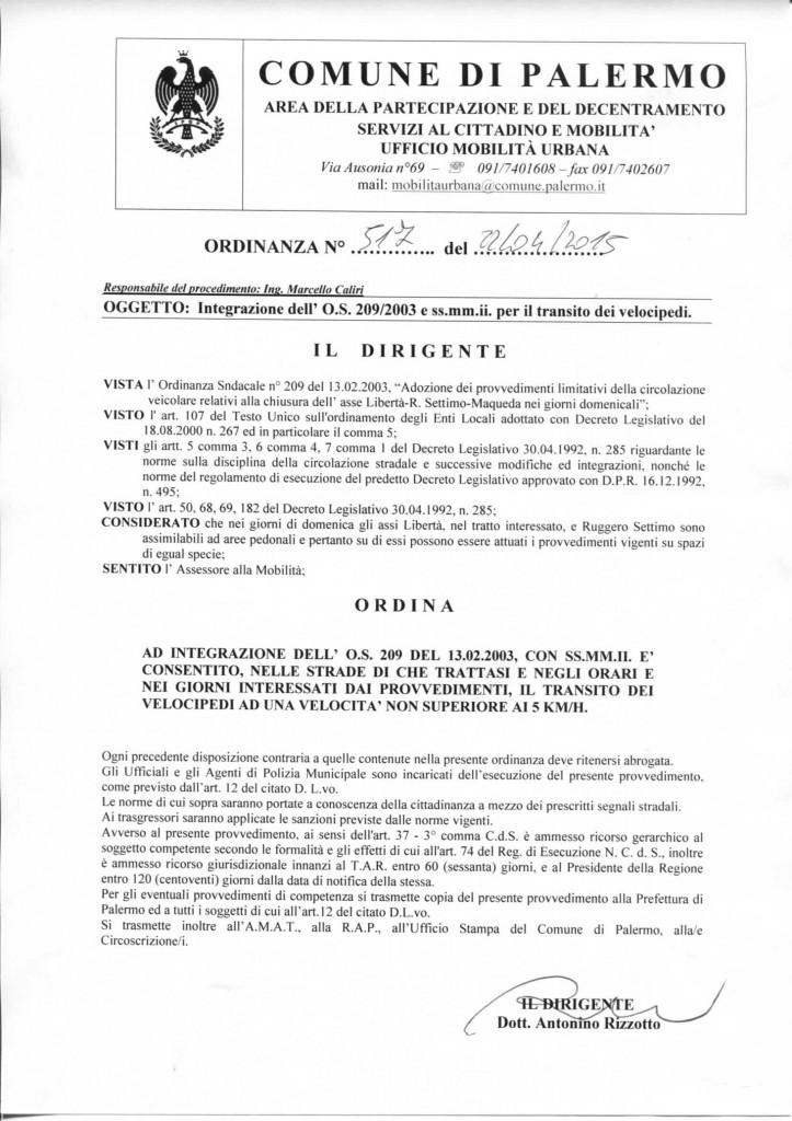517 INTEGRAZIONE O.S. 209-03 VIA MAQUEDA E ALTRE PER IL TRANSITO DEI VELOCIPEDI (1)