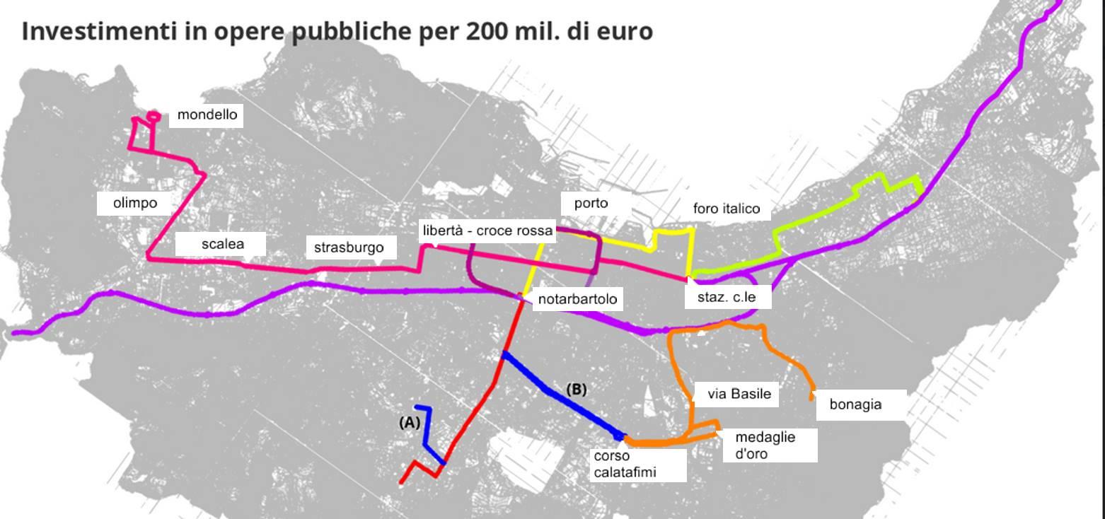 Le mappe delle tre nuove linee tram di palermo mobilita for Mobilita palermo