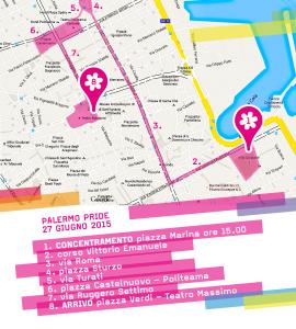 Mappa ufficiale del percorso del PalermoPride