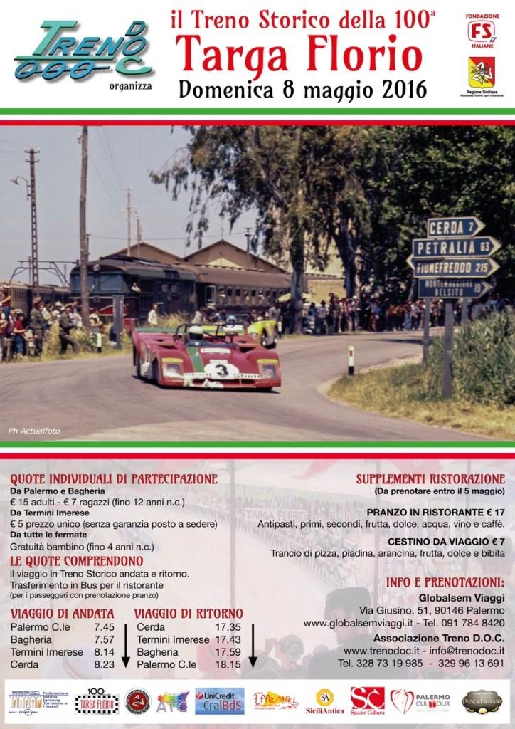 Locandina Treno della 100° Targa Florio 08-05-16