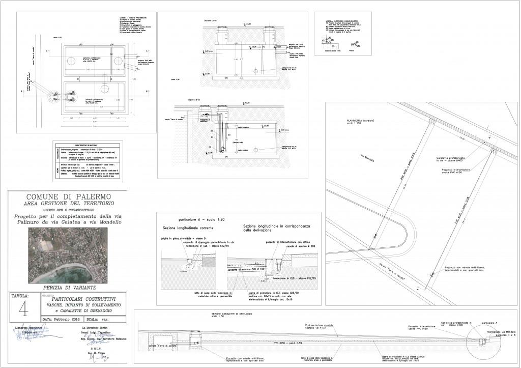 perizia tav.4 Particolari costruttivi - vasche impianto di sollevamento e canalette di drenaggio aperto