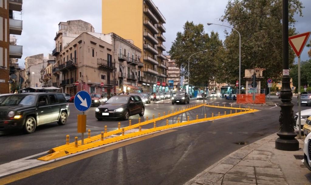 Corso tukory via la rotatoria realizzato il nuovo for Mobilita palermo
