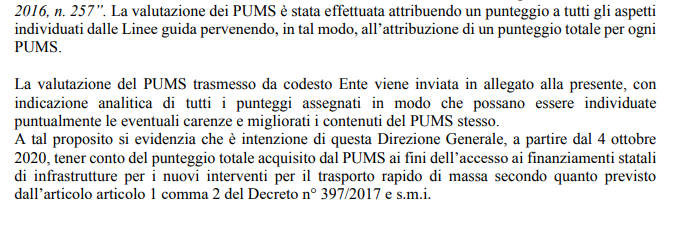 PUMS lettera